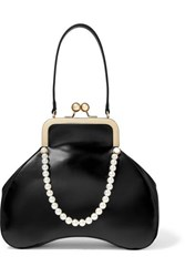 Simone Rocha Baby Bean Faux Pearl Embellished Leather Tote Black