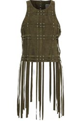 Haute Hippie Studded Fringed Suede Top Army Green