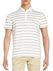 Saks Fifth Avenue Striped Polo Shirt White Cora