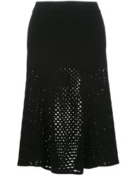 Kenzo Lace Hole Midi Skirt Black