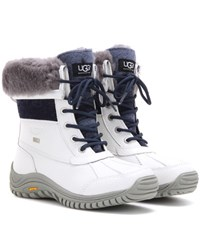 Ugg Adirondack Shearling Trimmed Leather Boots White