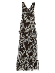 Erdem Mable Hip Night Print Voile Gown Black White