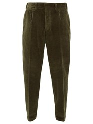 The Gigi Tapered Cotton Blend Corduroy Trousers Dark Green