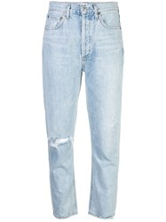 Agolde Distressed Straight Leg Jeans Blue