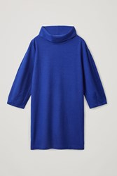 Cos Wool Cotton Cocoon Dress Blue