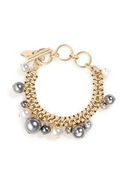 Lanvin Glass Pearl Chain Bracelet Metallic Grey