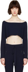 Baja East Navy Cashmere Off The Shoulder Sweater