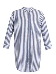 Velvet By Graham And Spencer Ivy Striped Cotton Shirtdress Blue White