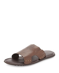 Kenneth Cole Afinity Leather Slide Sandal Tan
