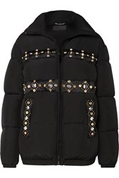 Versace Embellished Quilted Shell Down Coat Black