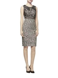 Kay Unger Lace And Tweed Sheath Dress Grey Multi
