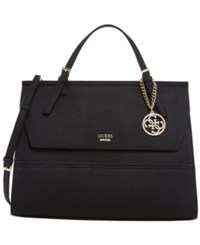 Guess Huntley Top Handle Flap Front Satchel Black