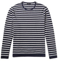 Theory Lebor Striped Stretch Knit Sweater Midnight Blue