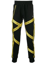 Philipp Plein Caution Strap Track Pants Black