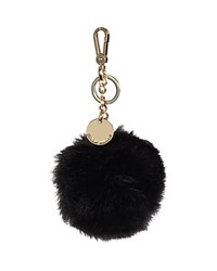 Karen Millen Faux Fur Pom Pom Key Fob Black Gold