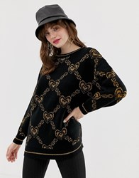 Monki Oversized Jumper With Gold Chain And Heart Print In Black Black And Gold