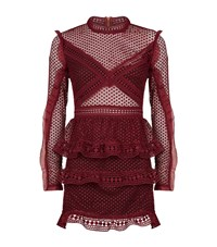Self Portrait Mesh Tiered Mini Dress Female