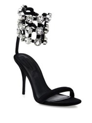 Alexander Wang Antonia Jeweled Cage Suede Sandals Black