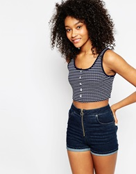 Asos Crop Top In Stripe With Rib Navywhite
