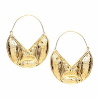 Ottoman Hands Engraved Statement Gold Hoop Earrings