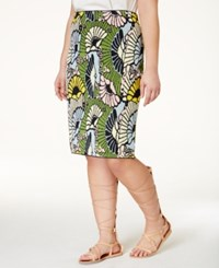 Rachel Rachel Roy Curvy Plus Size Floral Print Pencil Skirt Floral Multi