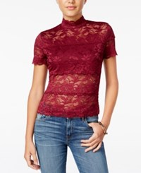 Guess Shayna Mock Turtleneck Lace Top Vira