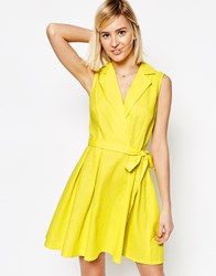 Asos Sleeveless Linen Mini Shirt Dress With Belt Yellow