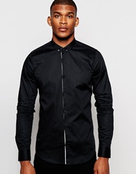 Vito Shirt With Button Down Collar In Slim Fit Black