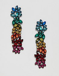 Stradivarius Rainbow Strass Drop Earrings Black