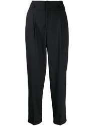 Closed Bay Cropped Tapered Trousers Black