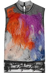 Emilio Pucci Faux Feather Embellished Tulle Top Black