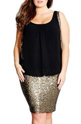 Plus Size Women's City Chic 'Sequin Sister' Blouson Dress Black Gold