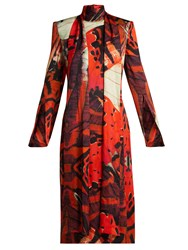 Alexander Mcqueen Silk Satin Butterfly Print Dress Red Print