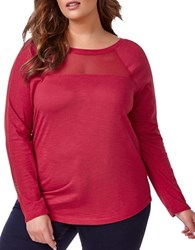 Addition Elle Love And Legend Plus Mesh Knit Top Pink