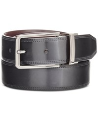 Perry Ellis Men's Big And Tall Silver Lines Leather Belt Blk20