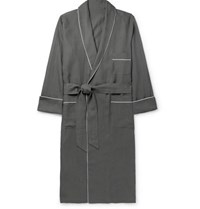 Anderson And Sheppard Piped Linen Robe Dark Gray
