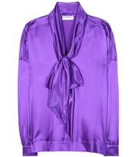 Balenciaga Silk Satin Blouse Purple