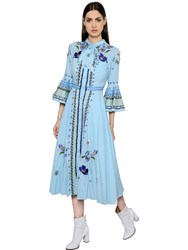 Temperley London Flowers Embroidered Cotton Gauze Dress