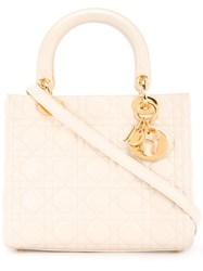Christian Dior Vintage Lady Cannage Two Way Tote White