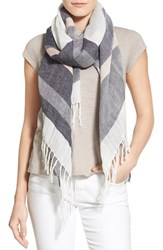 Women's Caslon Cross Dye Stripe Linen Blend Scarf Blue Navy Combo