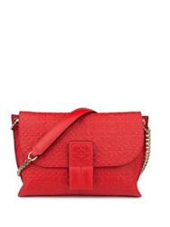Loewe Avenue Embossed Leather Chain Shoulder Bag Soft White Navy Blue Electric Blue Primary Red Bla