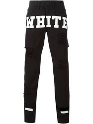 Off White Printed And Distressed Jeans Black