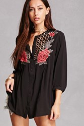 Forever 21 Embroidered Crochet Tunic Black
