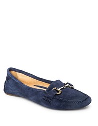 Patricia Green Carrie Suede Driver Moccasins Navy Blue