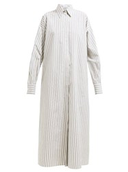 Raey Oversized Striped Cotton Maxi Shirtdress White