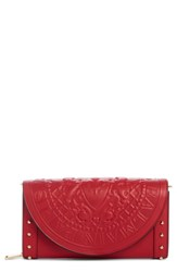 Balmain Renaissance Leather Wallet On A Chain Red Rouge
