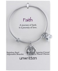 Unwritten Crystal Accented Cross Disc Charm Adjustable Bangle Bracelet In Stainless Steel Silver