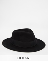 Reclaimed Vintage Wool Fedora With Feather Detail 0