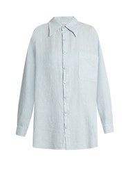 Roxana Salehoun Oversized Linen Shirt Light Blue