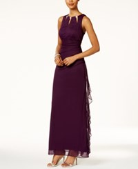 Betsy And Adam B A By Embellished Keyhole Ruched Gown Plum
